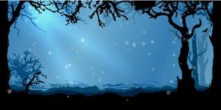 Magischer Winterwaldvektorhintergrund Stockbild