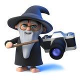 magischer Zauberercharakter der lustigen Karikatur 3d, der eine Kamera hält Stockbild