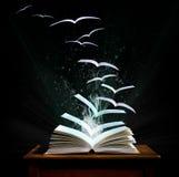 Magisches Buch mit den Seiten, die in Vögel umwandeln stockfoto