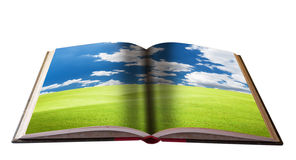 Magisches Buch mit Landschaft Stockbild
