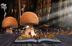 Magisches Buch stellt das Verschüttet.werden in Landschaft zufrieden Stockbilder