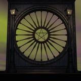 Magisches Fenster in einer Fantasieeinstellung Stockfotos