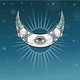 Magisches Horn ein Halbmond, Mond in der Metallrüstung lizenzfreie abbildung
