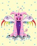 Magisches kleines Schwein des Rosas mit Flügeln stockbilder