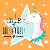 Magisches nettes Babyeinhorn, Sterne Plakat, Grußkarte, Vektorillustration mit Entwurf für Kinder drucken Kleidung und Plakat Stockbilder