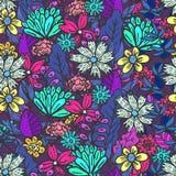 Magisches purpurrotes Blumenmuster mit Verwirrung von Blumen vektor abbildung