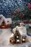 Magisches Schneehaus stockfotos
