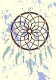 magisches Symbol Dreamcatcher mit Edelsteinen und Federn lizenzfreie abbildung