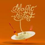 Magisches Teigwarenzitat mit Löffel- und Gabel3d Wiedergabe Stockbild