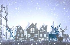 Magisches Weihnachtspapier schnitt Winterhintergrundlandschaft mit Häusern, Bäumen, Rotwild und Schnee vor Hintergrund der weißen stockfotos