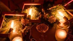 Magisk bakgrund för julferiestearinljus arkivbild