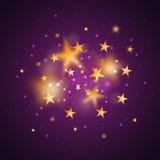 Magisk bakgrund med guld- suddiga stjärnor Fotografering för Bildbyråer