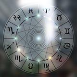 Magisk cirkel på suddig bakgrund stock illustrationer