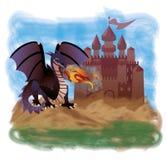 Magisk drake och gammal slott Arkivfoto