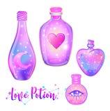 Magisk dryck: den blåa flaskkrusuppsättningen med den rosa månen, kristaller, hör royaltyfri illustrationer