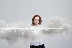 Magisk effekt för kvinnadanande - prålig blixt Begreppet av elektricitet, hög energi Royaltyfri Bild