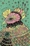 Magisk fågel - fantasiillustration med pastellfärgade färger Shamanic konst geometrisk vektor för abstrakt illustrationsbakgrund royaltyfri illustrationer