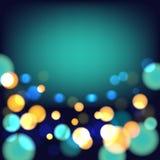 Magisk festlig bakgrund med ljusa ljus Arkivfoton