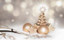Magisk guld- julbakgrund Fotografering för Bildbyråer