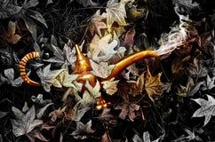 Magisk guld- lampa Arkivbilder
