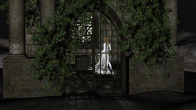 Magisk häxa av natten Fantastisk prinsessa inom krypta Royaltyfria Foton