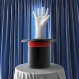Magisk hatt med handen Arkivbild
