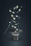 Magisk hatt och pengar Arkivbild