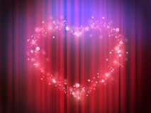 Magisk hjärta tänder - visa presentationen i hjärta och älska - glödande teaterljus - glödande rosa ljus för hjärta Arkivfoto