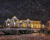 Magisk julnatt i St Petersburg, vinter i Ryssland Royaltyfria Bilder