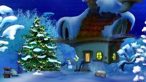 Magisk julnatt Plats för nytt år stock illustrationer
