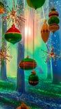 Magisk julskog Arkivbilder