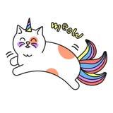 Magisk kattenhörningsymbol, dekorativt tecken för unge stock illustrationer