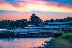 Magisk kungarikehamnplats och grön skog på färgrik solnedgångbakgrund på Walt Disney World område royaltyfri fotografi