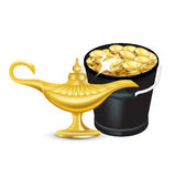 Magisk lampa och hink av isolerade guld- mynt Royaltyfri Fotografi