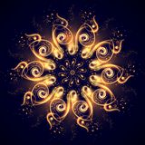 magisk mandala Härlig abstrakt fractal av lysande linjer på ett mörkt - blå bakgrund Mystisk avkopplingmodell stock illustrationer