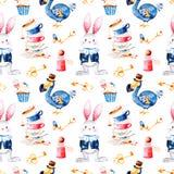 Magisk modell med flaskan, drontfågel, guld- tangenter, gullig kanin i det blåa omslaget, muffin royaltyfri illustrationer