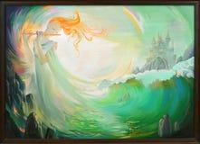 magisk musik Stående av den härliga flickan som spelar flöjten i fantasimiljön Oljemålning på kanfas Arkivfoto