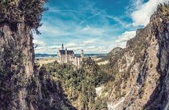 Magisk Neuschwanstein slott i Bayern, Tyskland Arkivfoto