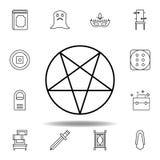 Magisk pentagram?versiktssymbol beståndsdelar av den magiska illustrationlinjen symbol tecknet symboler kan användas för rengörin stock illustrationer