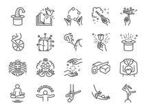 Magisk showlinje symbolsuppsättning Inklusive symbolerna som enhjulingen, trollkarl, akrobatik, clown, magisk trollstav, kapacite royaltyfri illustrationer