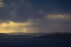Magisk solnedgång på Shetland öar Fotografering för Bildbyråer