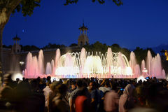 Magisk springbrunn av Montjuïc, Barcelona Arkivfoto