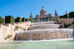 Magisk springbrunn, Montjuic, Placa Espanya, Barcelona Royaltyfri Foto