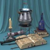 Magisk stilleben för tecknad film med bilder av böcker, stearinljus och magiska drycker Arkivbild