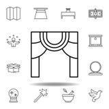 Magisk teater?versiktssymbol beståndsdelar av den magiska illustrationlinjen symbol tecknet symboler kan användas för rengöringsd stock illustrationer