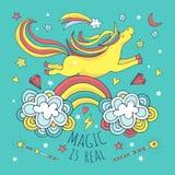 Magisk vektorbakgrund, affisch med enhörningen och regnbåge vektor illustrationer