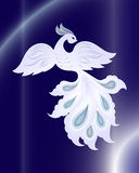 Magisk vit fågel på mörker - blå bakgrund vektor illustrationer