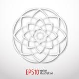 Magisk vit lotusblomma i cirkeln 3d Sacral geometridiagram Celtic eller östlig stilillustration för skandinav, gåtfullt Arkivbilder
