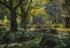 Magiska Autumn Garden i Hudson Valley arkivbilder
