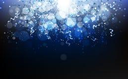 Magiska blått, vintersäsong, stjärnor som faller med bandkonfettier royaltyfri illustrationer